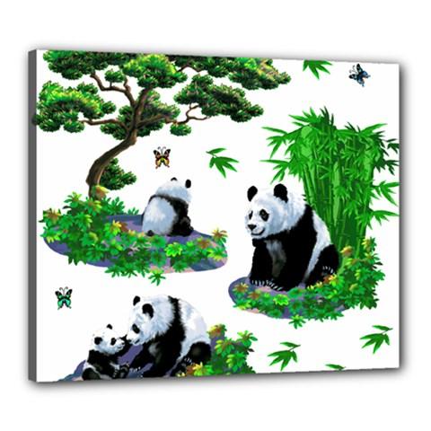 Cute Panda Cartoon Canvas 24  x 20