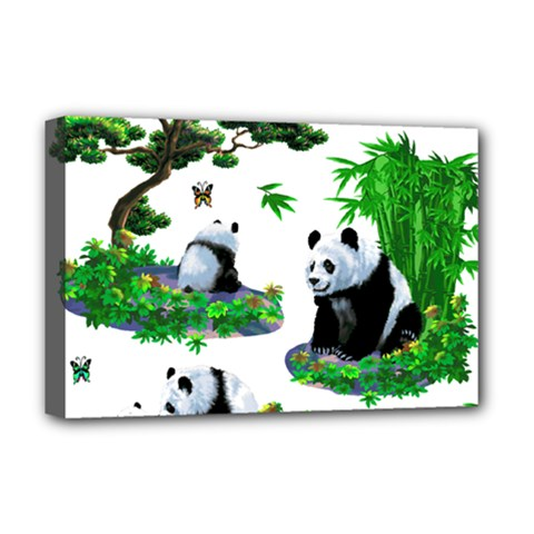 Cute Panda Cartoon Deluxe Canvas 18  X 12