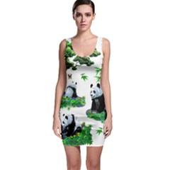 Cute Panda Cartoon Sleeveless Bodycon Dress