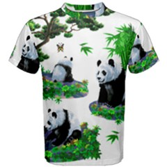 Cute Panda Cartoon Men s Cotton Tee