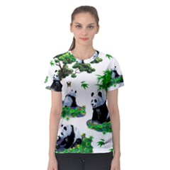 Cute Panda Cartoon Women s Sport Mesh Tee