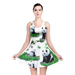 Cute Panda Cartoon Reversible Skater Dress