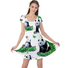 Cute Panda Cartoon Cap Sleeve Dresses