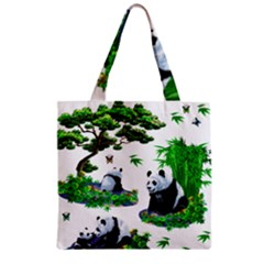Cute Panda Cartoon Zipper Grocery Tote Bag