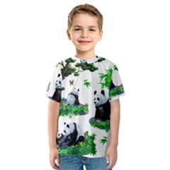 Cute Panda Cartoon Kids  Sport Mesh Tee
