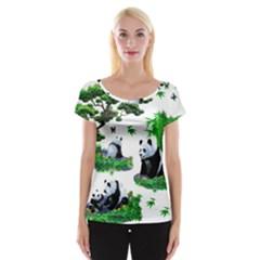 Cute Panda Cartoon Women s Cap Sleeve Top