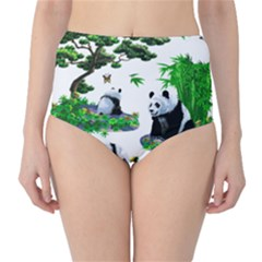 Cute Panda Cartoon High Waist Bikini Bottoms