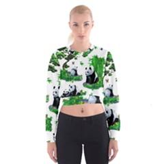 Cute Panda Cartoon Women s Cropped Sweatshirt