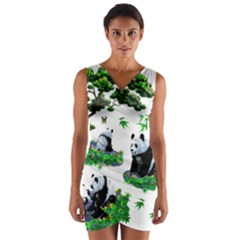 Cute Panda Cartoon Wrap Front Bodycon Dress