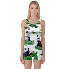 Cute Panda Cartoon One Piece Boyleg Swimsuit