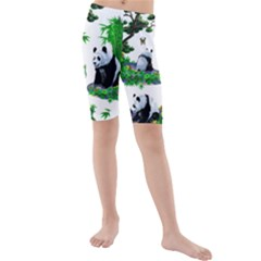 Cute Panda Cartoon Kids  Mid Length Swim Shorts