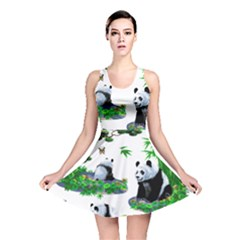 Cute Panda Cartoon Reversible Skater Dress
