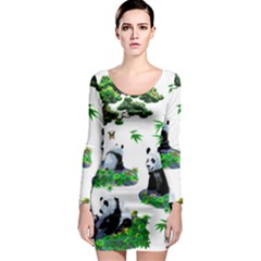 Cute Panda Cartoon Long Sleeve Bodycon Dress