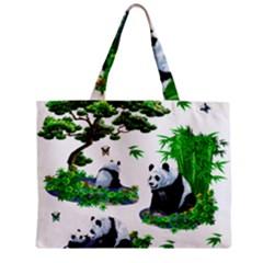 Cute Panda Cartoon Zipper Mini Tote Bag