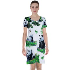 Cute Panda Cartoon Short Sleeve Nightdress