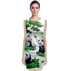 Cute Panda Cartoon Classic Sleeveless Midi Dress