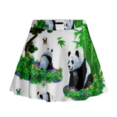 Cute Panda Cartoon Mini Flare Skirt