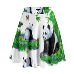 Cute Panda Cartoon High Waist Skirt