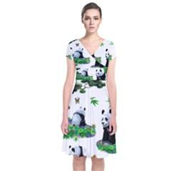Cute Panda Cartoon Short Sleeve Front Wrap Dress