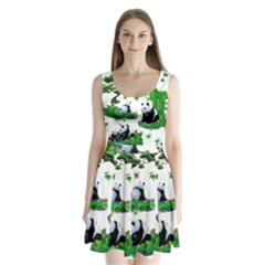 Cute Panda Cartoon Split Back Mini Dress