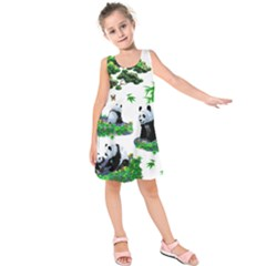Cute Panda Cartoon Kids  Sleeveless Dress