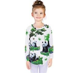 Cute Panda Cartoon Kids  Long Sleeve Tee