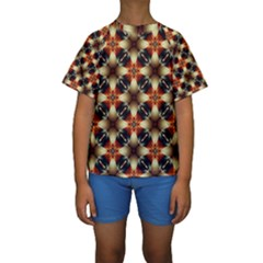 Kaleidoscope Image Background Kids  Short Sleeve Swimwear