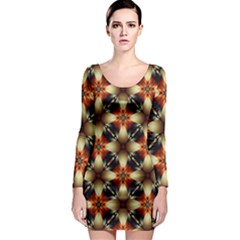 Kaleidoscope Image Background Long Sleeve Bodycon Dress
