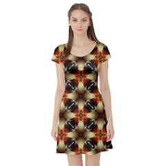 Kaleidoscope Image Background Short Sleeve Skater Dress