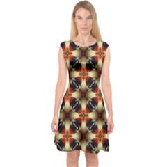 Kaleidoscope Image Background Capsleeve Midi Dress