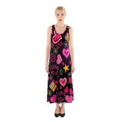 Love Hearts Sweet Vector Sleeveless Maxi Dress