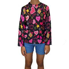 Love Hearts Sweet Vector Kids  Long Sleeve Swimwear