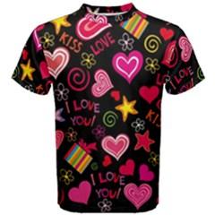 Love Hearts Sweet Vector Men s Cotton Tee