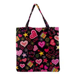 Love Hearts Sweet Vector Grocery Tote Bag