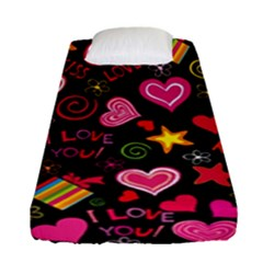 Love Hearts Sweet Vector Fitted Sheet (single Size)