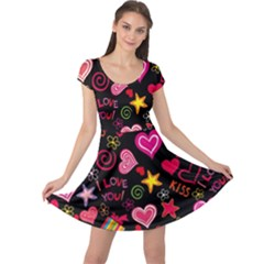 Love Hearts Sweet Vector Cap Sleeve Dresses