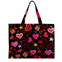 Love Hearts Sweet Vector Zipper Mini Tote Bag