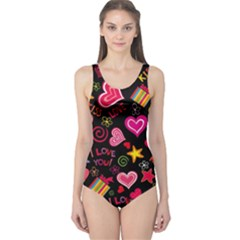 Love Hearts Sweet Vector One Piece Swimsuit