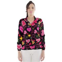 Love Hearts Sweet Vector Wind Breaker (Women)