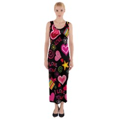 Love Hearts Sweet Vector Fitted Maxi Dress