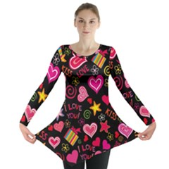 Love Hearts Sweet Vector Long Sleeve Tunic