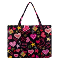 Love Hearts Sweet Vector Medium Zipper Tote Bag