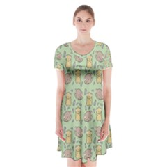 Cute Hamster Pattern Short Sleeve V Neck Flare Dress