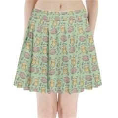 Cute Hamster Pattern Pleated Mini Skirt