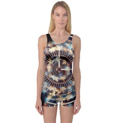 Science Fiction Background Fantasy One Piece Boyleg Swimsuit