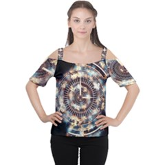 Science Fiction Background Fantasy Women s Cutout Shoulder Tee