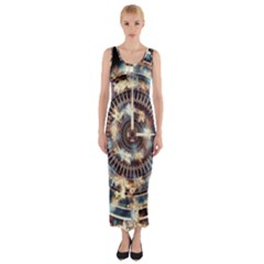 Science Fiction Background Fantasy Fitted Maxi Dress