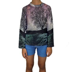 Sky Landscape Nature Clouds Kids  Long Sleeve Swimwear