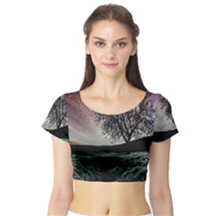 Sky Landscape Nature Clouds Short Sleeve Crop Top (Tight Fit)