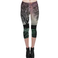 Sky Landscape Nature Clouds Capri Leggings